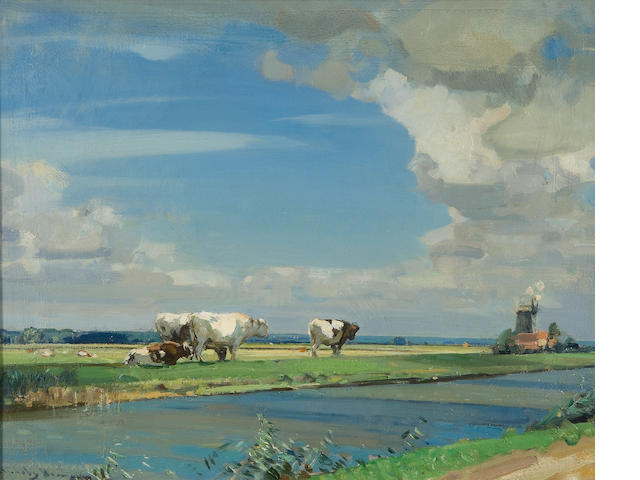 Sir John Alfred Arnesby Brown (British, 1866-1955) The Cut, Haddiscoe Marsh