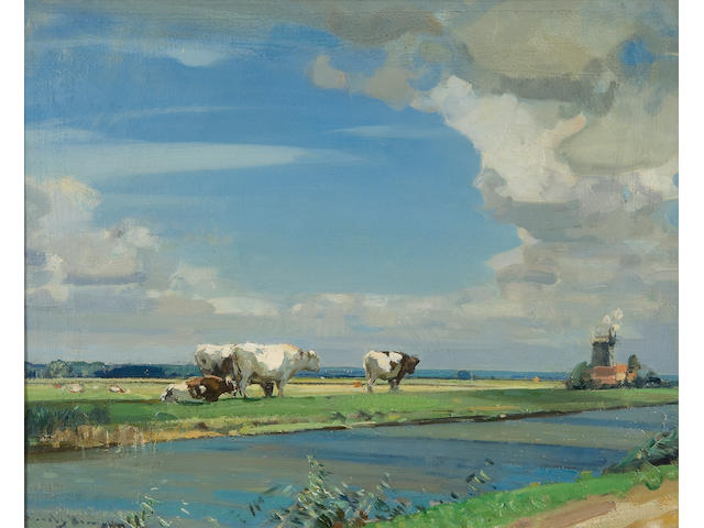 Sir John Alfred Arnesby Brown (British, 1866-1955) The Cut, Haddiscoe Marsh
