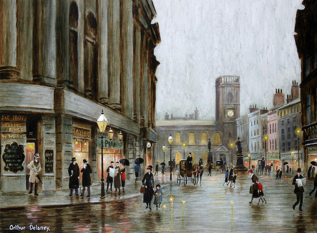 Arthur Delaney (British, 1927-1987) Figures at dusk, St. Anne's Square, Manchester,