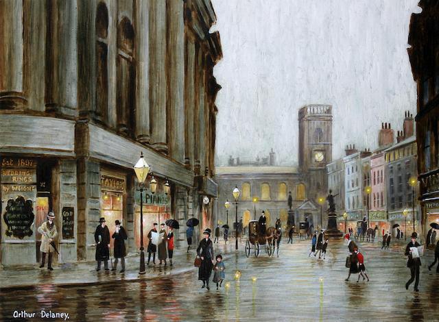 Arthur Delaney (British, 1927-1987) Figures at dusk, St. Anne's Square, Manchester,