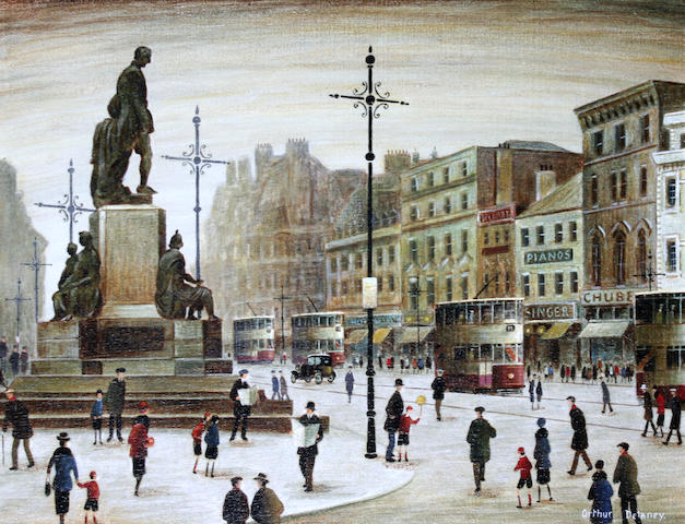 Arthur Delaney (British, 1927-1987) Figures and trams, Albert Square, Manchester,