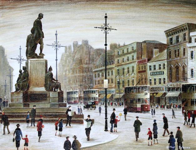 Arthur Delaney (British, 1927-1987) Figures and trams, Albert Square, Manchester,