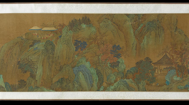 Two handscrolls: one depicting warriors, scholars and archers in a rock and tree lined landscape, inscribed Chao Mengfu