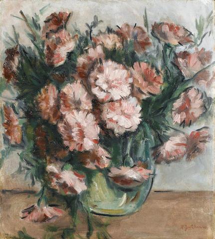 Natalia Sergeevna Goncharova (Russian, 1881-1962) Carnations in a vase