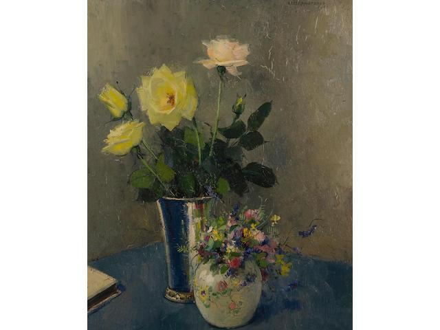 Olle Hjortzberg (Swedish, 1872-1959) Still life of roses and spring flowers in vases