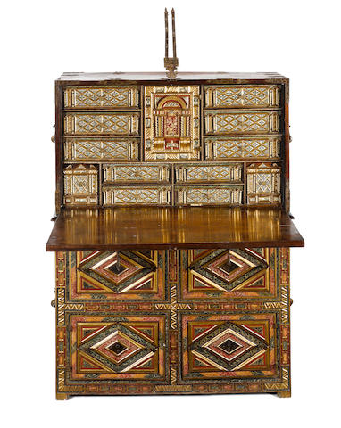 A Spanish 17th century bone inlaid, painted and parcel gilt walnut vargueño on stand
