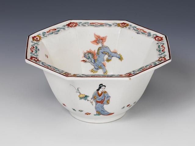 A rare Bow octagonal bowl Circa 1755.