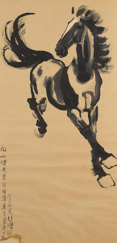 A Chinese picture of a horse; framed and glazed