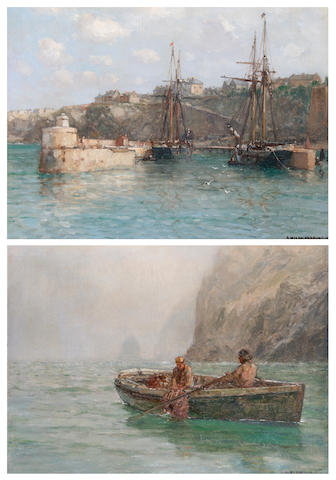 Arthur Wilde Parsons (British, 1854-1931) 'Newquay Harbour', and 'Crabbers on the Cornish Coast', a pair,