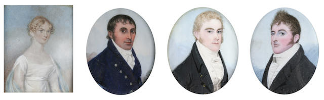 English school, early 19th century A portrait miniature of a gentleman wearing black jacket and white stock, oval, on ivory, and another similar of a gentleman wearing blue jacket, both with blue enamel glass to the back of the frame,