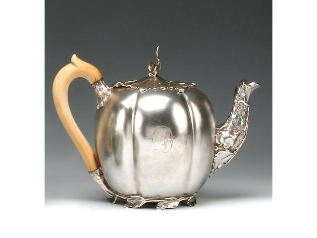 Paul Storr: A William IV melon shape teapot by Paul Storr, London 1834