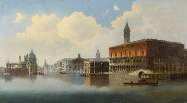 Late 19th Century Continental School Venetian view with gondolas before Santa Maria della Salute and the Doge's palace