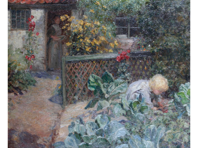 Frederick Stead (British, 1863-1940) A cottage garden, possibly at Staithes,