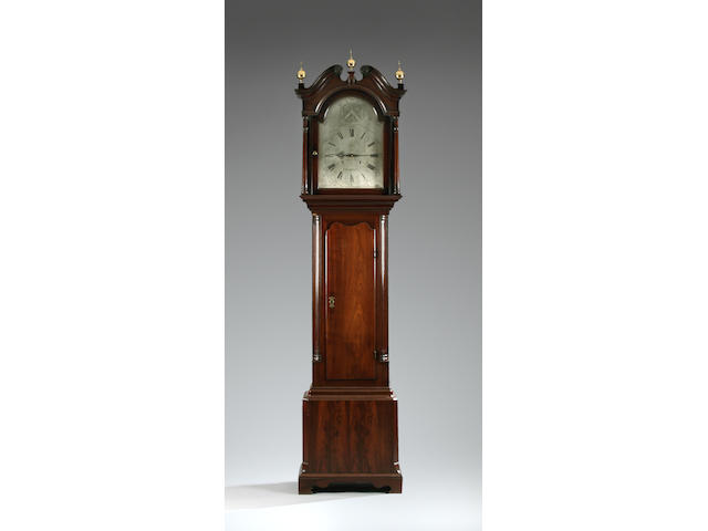 A unique and important third quarter 18th Century mahogany-cased longcase clock with maintaining power by John Owen of Llanrwst Circa 1772 sold with two weights, pendulum, key and winder