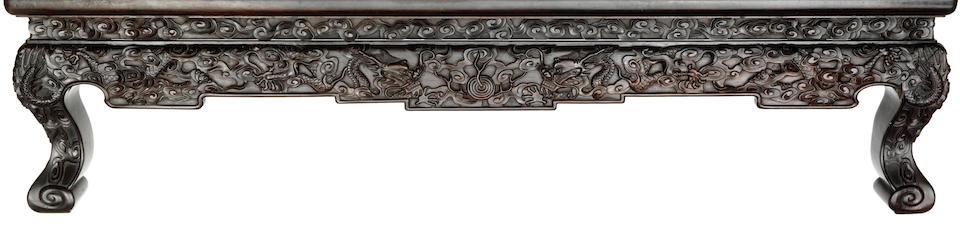 A rare zitan 'dragon' rectangular kang table, kangzhuo Qianlong/Jiaqing