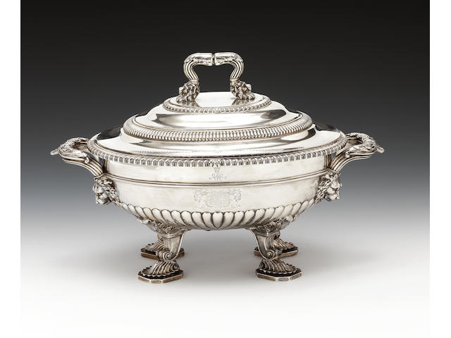 George III silver tureen, cover and liner Paul Storr 1810