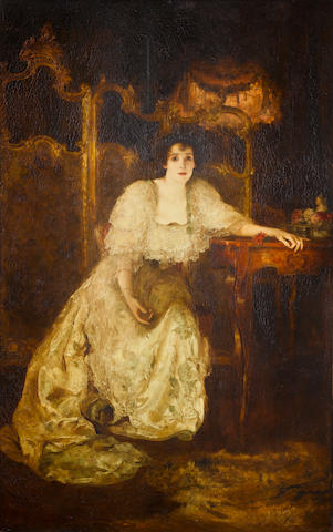 Solomon J. Solomon (British, 1860-1927) Portrait of Mrs Patrick Campbell as Paula Tanqueray