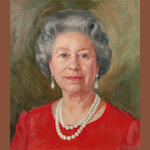 Theodore  Ramos (Spanish, born 1928) Portrait of Her Majesty The Queen