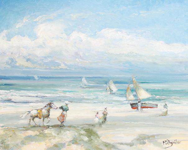 Baron Michael D'Aguilar (20th Century) A la Cote Normande un coup de vent