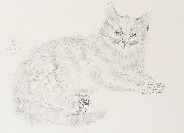 Léonard Tsuguharu Foujita (Japanese/French, 1886-1968) Recumbent cat  (sheet)