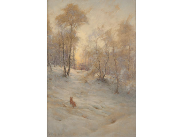 Joseph Farquharson, RA (British, 1846-1935) Fox and pheasant in snow