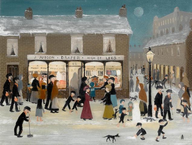 Helen Bradley (British, 1900-1979) Judson's New Drapers Shop 35.7 x 45.7 cm. (14 x 18 in.)