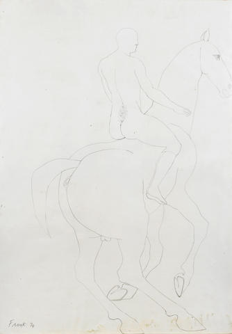 Dame Elisabeth Frink R.A. (British, 1930-1993) Horse and Rider 83.5 x 58.5 cm. (32 7/8 x 23 in.)