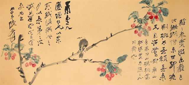 Zhang Daqian (Chang Dai-Chien, 1899-1983) Bird on Cherry Branch, framed 64 x 133cm