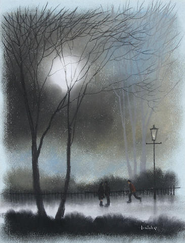 Brian Shields  (Braaq) (British, 1951-1997) You can even see to read! A couple in the moonlight,