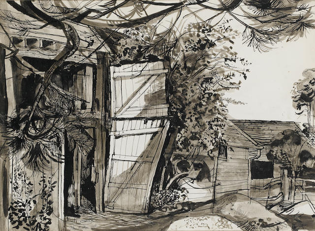 John Minton (British, 1917-1957) Farm Yard 25 x 34 in. (9 3/4 x 13 3/8 in.)