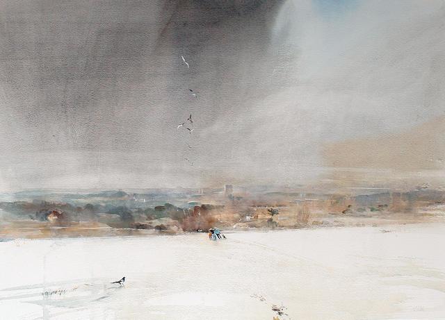 Leslie Charles Worth (British, born 1923) 'Light powdering of snow on the downs'
