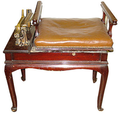 A mahogany personal weighing scale, circa 1900, with a brass plate inscribed 'Berry Sweep' Orkney 1907 on cabriole legs