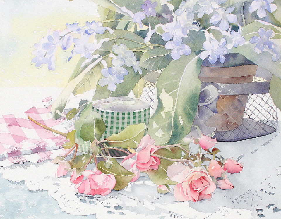 Julia Rowntree Still life of pink roses