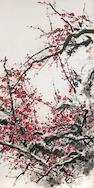Guan Shanyue (1912 – 2000) Plum Blossoms Hanging scroll, ink and color on paper Purchased Da Da gallery, 1985,