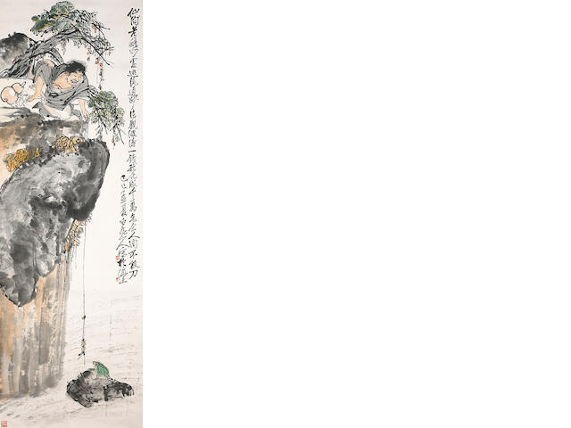 Wang Zhen (1867-1938) Liu Hai and frog Hanging scroll, ink and color on paper Purchased Sotheby's  Lot 9 May 1987 With original box signed by the artist
