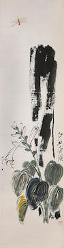 Qi Baishi Flower and Dragon fly Hanging scroll, ink and color on paper Purchased Da Da gallery,1984