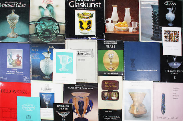 A collection of reference books and sale catalogues relating to antique glass
