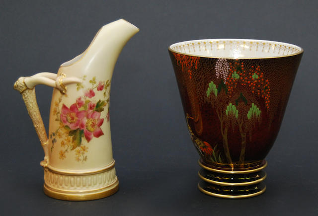A small Royal Worcester blush ivory ewer,  Dated 1905