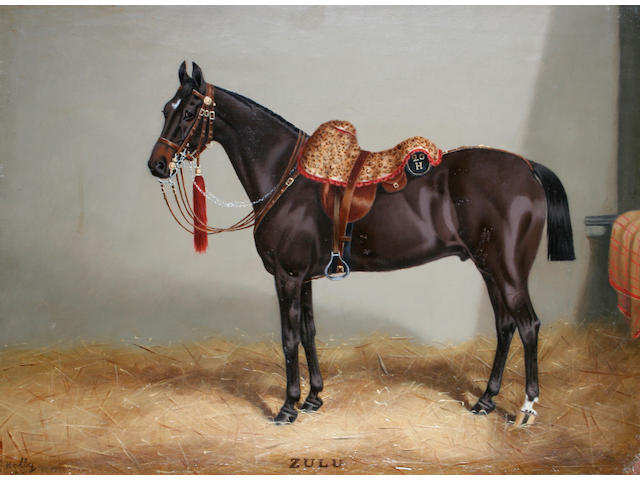 E. Hally (British), 19th century 'Zulu', a cavalry horse in a stable,