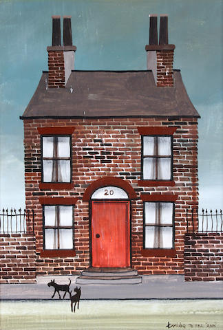 Brian Shields  (Braaq) (British, 1951-1997) Number 20, A house with dogs outside,