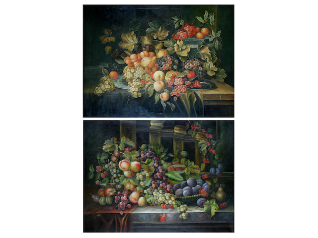 Continental School (later 20th century) Still life with fruit, and another similar, a pair,
