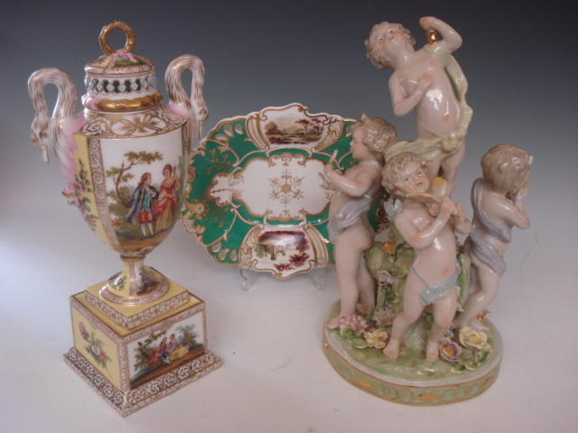 A Meissen style figure group 20th century