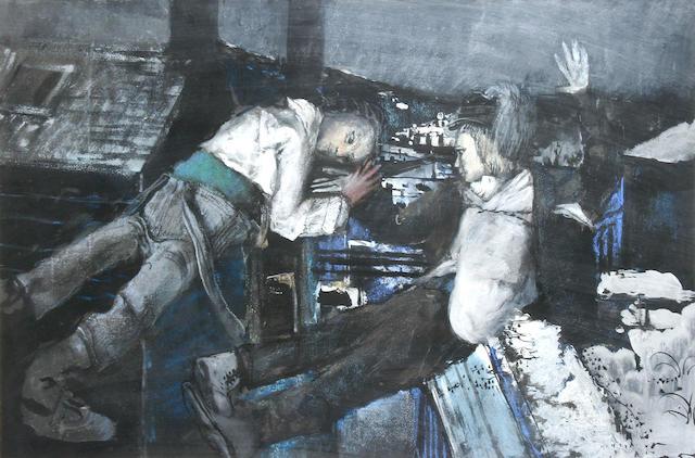 Bohuslav Barlow (Czechoslovakian, born 1947) Winter scene, Todmorden,