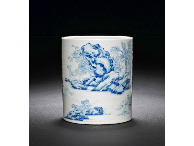 A blue and white porcelain brush pot six character Qianlong mark and of the period Provenance:  Sotheby's Hong Kong ¦ay 20, 1987, Lot 467