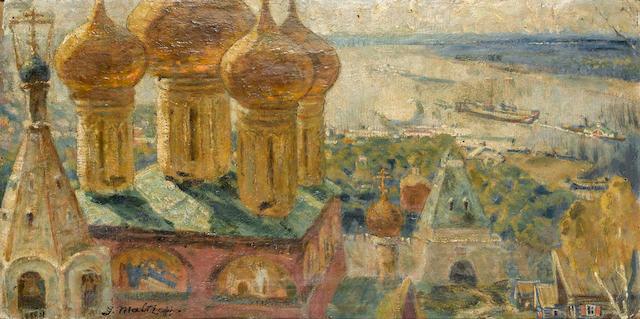 Gregory Pavlovich Maltzeff (Russian, 1881-1953) Church cupolas, Nizhny Novgorod
