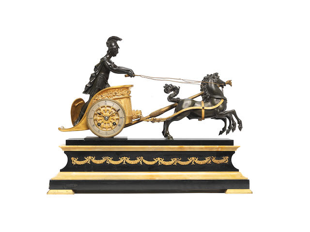 A late 19th century French ormolu, bronze and marble figural clock The movement stamped Japy Frères