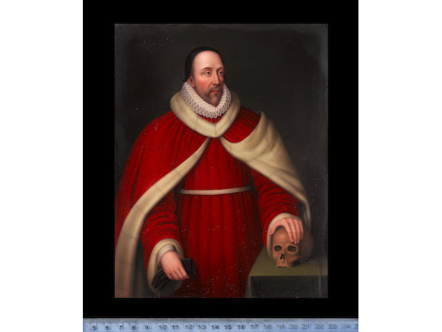 Henry Bone, R.A. (British, 1755-1834) Edward Coke (1552–1634), wearing white fur trimmed red robes, ruff and black cap, he holds his gloves in his right hand, his left hand resting on a skull