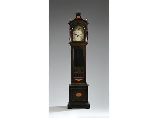 An early 20th Century inlaid mahogany-cased floor-standing Vienna clock with moon phase Gustav Becker, Freiburg sold with two weights, pendulum and key
