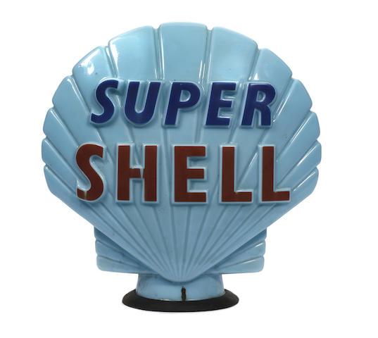 A 'Super Shell' blue glass petrol pump globe,