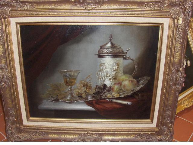 BOROS: still life-tankard, goblet & grapes